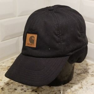 3b38df2bb4d45 Carhartt black hat with ear flaps hunting large